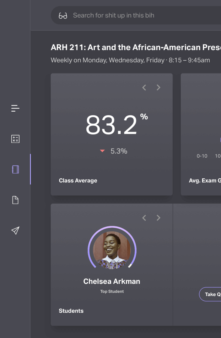classroom dark dashboard ui with vibrant purple accents
