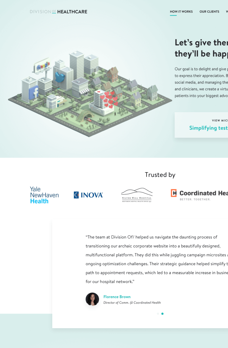 marketing web page mock up with 3d rendered city