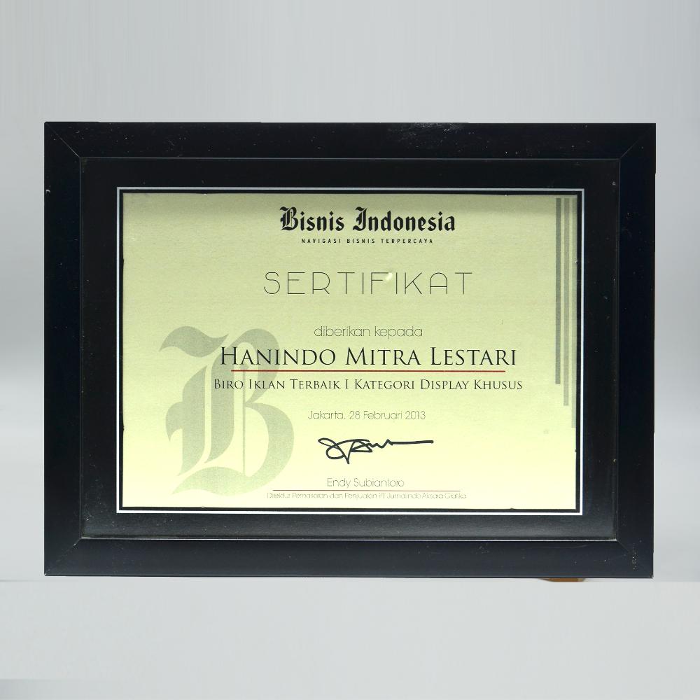 Bisnis Indonesia Biro Iklan Terbaik 1 Kategori Display Khusus