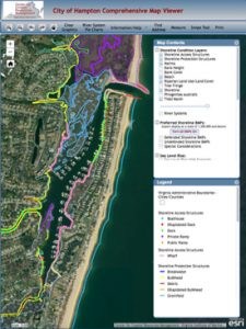 A screenshot of the Comprehensive Map Viewer for a section of Hampton, Virginia's, Chesapeake Bay shoreline, showing just some of the information available for display by users. Click image to access interactive version.
