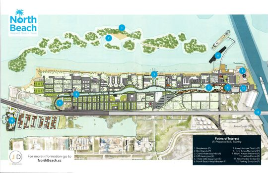 Plan for North Beach redevelopment that would include a $40 million canal and 10 bird habitat artificial islands