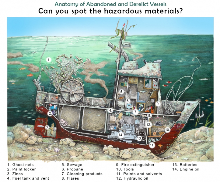 """An illustration of a sunken vessel with a cutaway showing various items inside the vessel. The illustration is labeled """"Anatomy of Abandoned and Derelict Vessels: Can you spot the hazardous materials?"""" with a numbered list corresponding to the illustration. The items include: 1. Ghost nets, 2. paint locker, 3. zincs, 4. fuel tank and vent, 5. sewage, 6. propane, 7. cleaning products, 8. flares, 9. fire extinguisher, 10. tools, 11. paints and solvents, 12. hydraulic fluid, 13. batteries, 14. engine oil"""