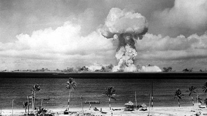 """The atomic blast of the """"Able"""" nuclear test at the Bikini atoll."""