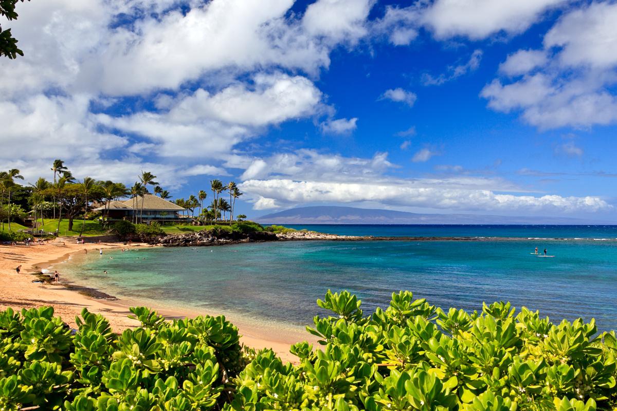 Kapalua Bay on a beautiful sunny day in Maui