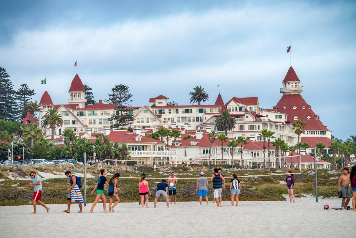 Hotel del Coronado is a historic beachfront hotel in the city of Coronado, just across the San Diego Bay from San Diego