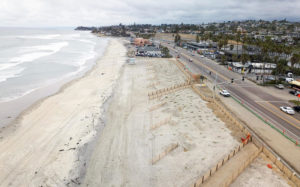 An areial view shows the recently completed dunes at the Cardiff State Beach Living Shoreline project in Encinitas, which opened May 22. (California State Parks photo)