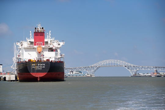 A tanker is loaded at the Northstar terminal in the Port of Corpus Christi on Tuesday, May 28, 2019.