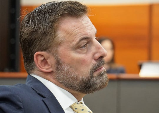 Sean Strawbridge, CEO of the Port of Corpus Christi, listens to opponents of the Port of Corpus Christi's Harbor Island marine terminal project speak at a March 28, 2019 meeting.