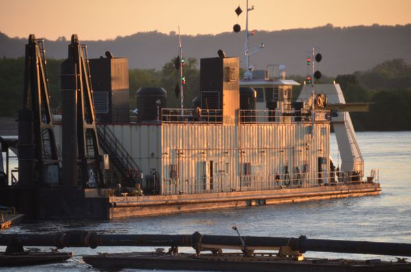 This U.S. Army Corps of Engineers dredge operates in the Mississippi River near Wabasha, Minnesota. (Photo courtesy of USACE)