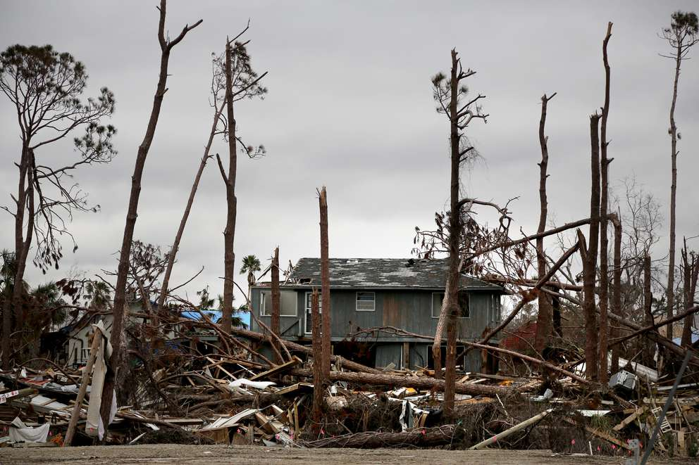 Hundreds of buildings in Mexico Beach were destroyed by Hurricane Michael last October. The town remained in a suspended state of destruction two months after landfall. DOUGLAS R. CLIFFORD   Times (2018)