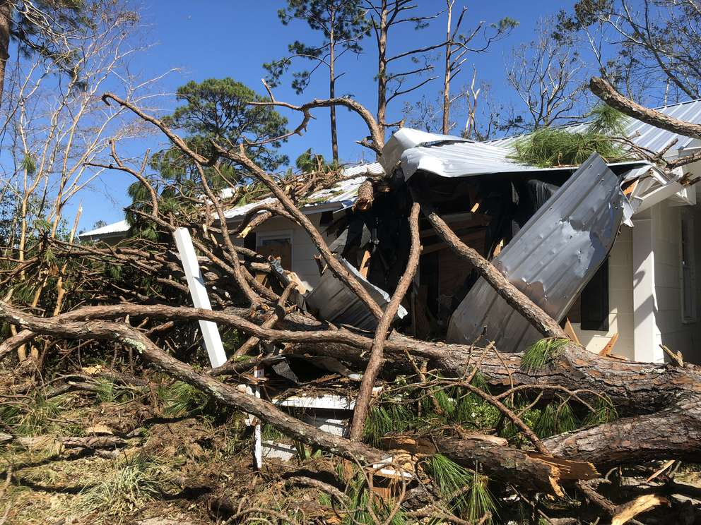 The home of Michael McKenzie and Marci Brannen in Port St. Joe after Hurricane Michael. (Courtesy of Michael McKenzie and Marci Brannen)