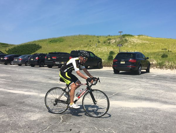 Despite a lack of hills, curves or shade, the 10-mile park road is popular among cyclists, including Paul KIczek.