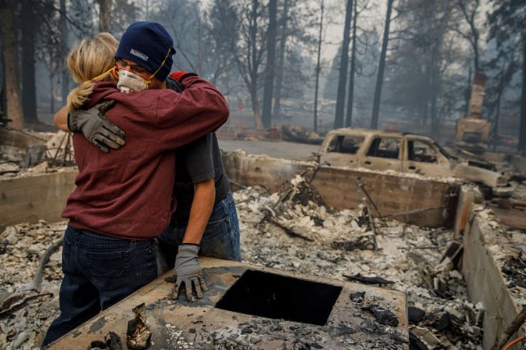 GP: California wildfires: Town Of Paradise Devastated By The Camp Fire Continues Search And Recovery Efforts