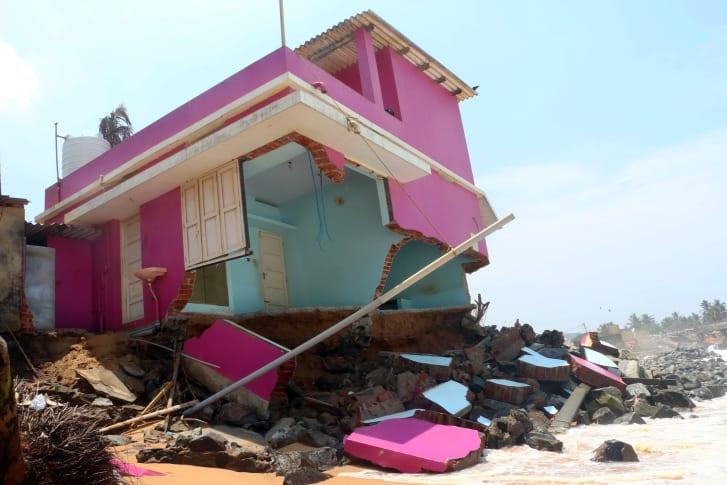 Beach erosion along the Kerala coast is forcing residents to seek shelter elsewhere. Photo courtesy of Kadapuram News.