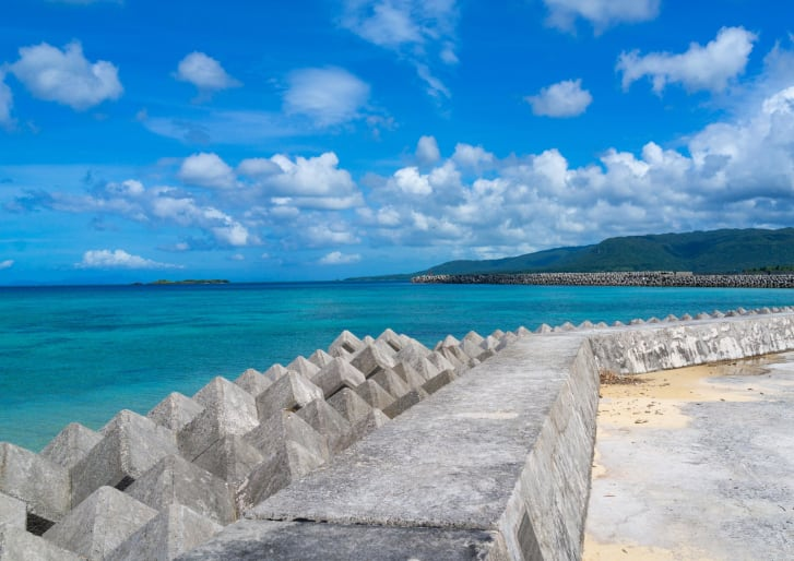 Concrete made tetrapods along Maruma beach, Yaeyama Islands, Iriomote, Japan.