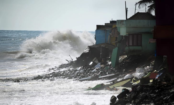 The sea is threatening homes along the Indian coast. This is a recent image of damage at Valiyathura, Thiruvananthapuram in Kerala, courtesy of Kadapuram News.