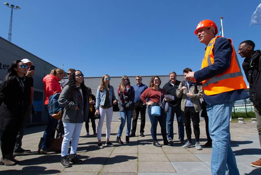 Students from Texas A&M, Rice and Jackson State universities get a tour of the Maeslantkering.