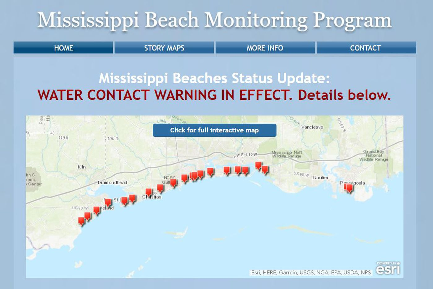 A new banner on MDEQ's beach monitoring website says a water advisory is in effect. It previously referred to it as a beach advisory.
