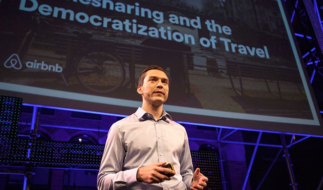 Nathan Blecharczyk (Airbnb) gives a speech at Startup Fest Europe in Amsterdam.
