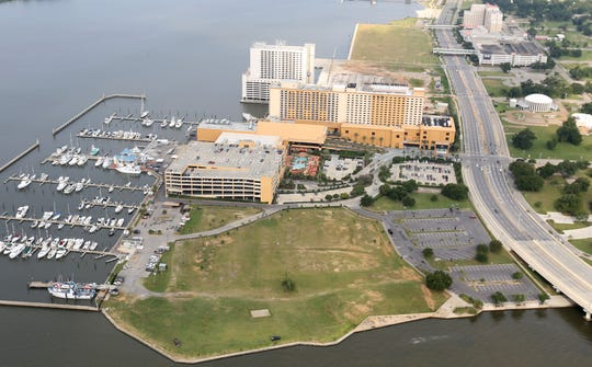 An aerial view of the Biloxi Harbor behind the Golden Nugget Casino. The Mississippi gubernatorial candidates weighed in on the impacts of climate change in the state, including sea level rise.