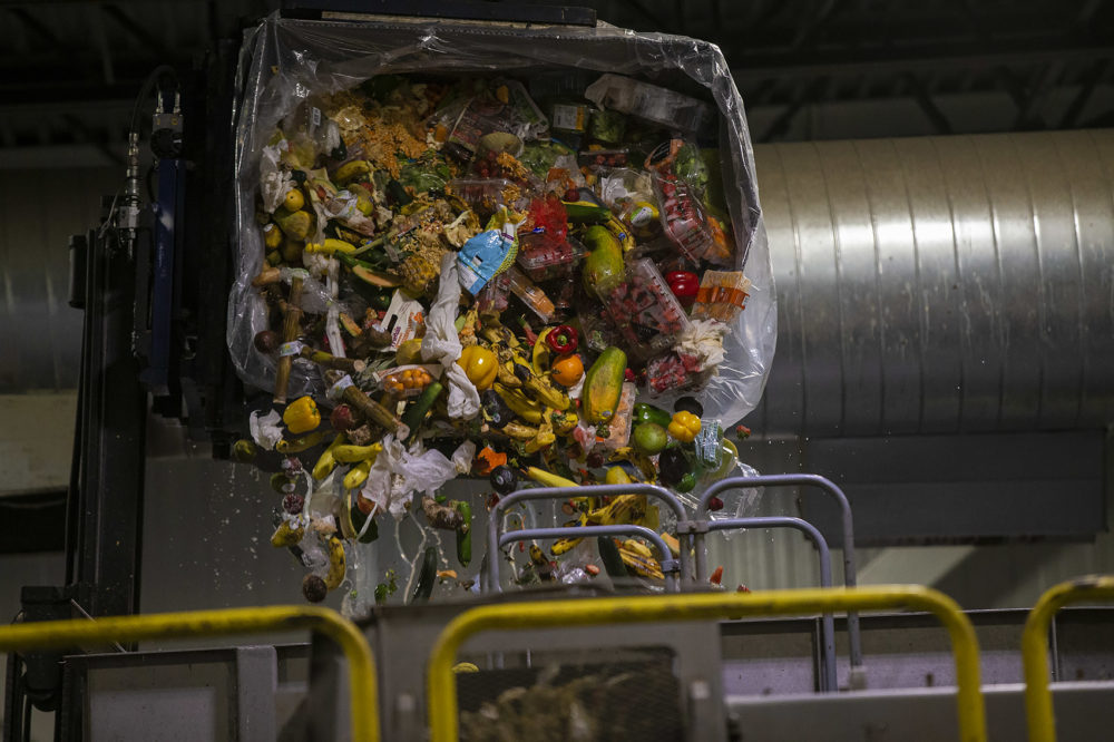 A bin of expired food from area Stop & Shop stores is poured into the anaerobic digester at the Stop & Shop Distribution Center in Freetown. (Jesse Costa/WBUR)