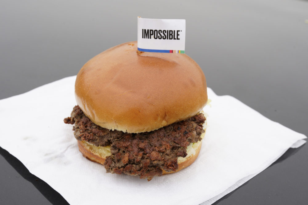 The Impossible Burger, a plant-based burger containing wheat protein, coconut oil and potato protein, is shown. Growing demand for healthier, more sustainable food is one reason people are seeking plant-based meats. (Nati Harnik/AP)
