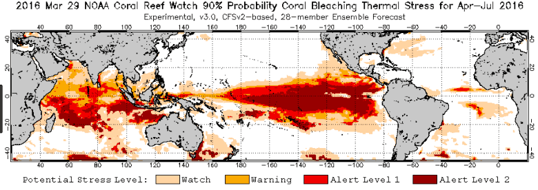 NOAA 2016 coral stress levels map