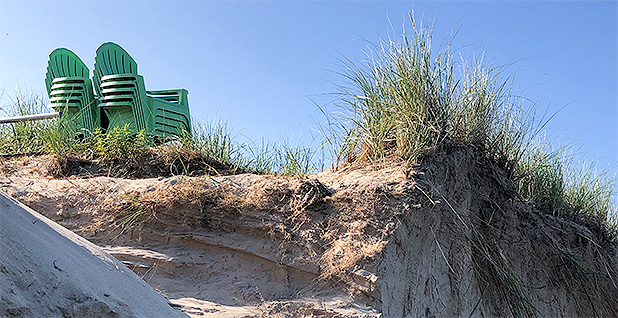Eroded dune on Lake Michigan. Photo credit: Daniel Cusick/E&E News