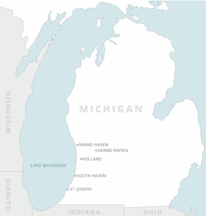 Locator map of Michigan. Map credit: Claudine Hellmuth/E&E News