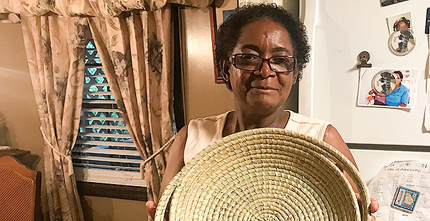 Yvonne Grovner is known for making sweet grass baskets. Photo credit: Kelsey Brugger/E&E News