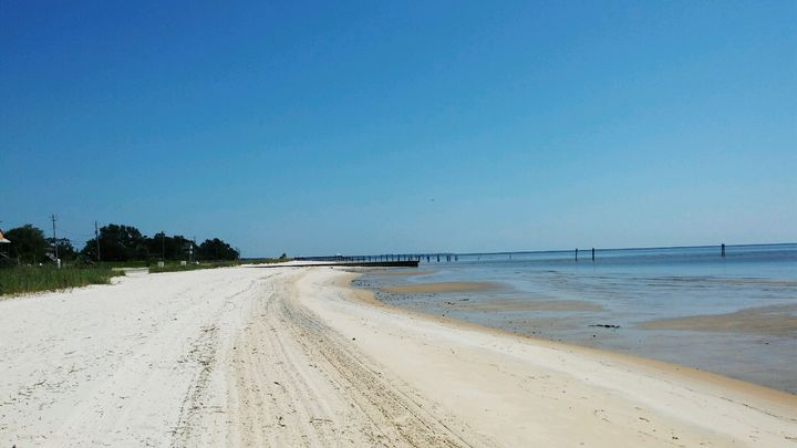 An empty beach in Waveland, Mississippi on Sept. 6, 2019.