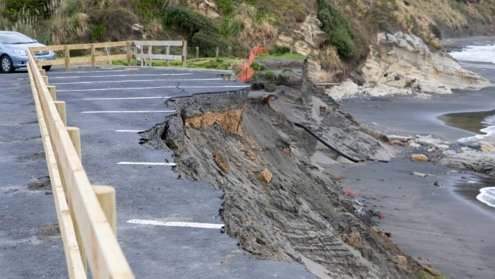 The beach car park is being eaten away.