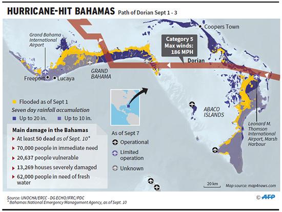 Hurricane-hit Bahamas map