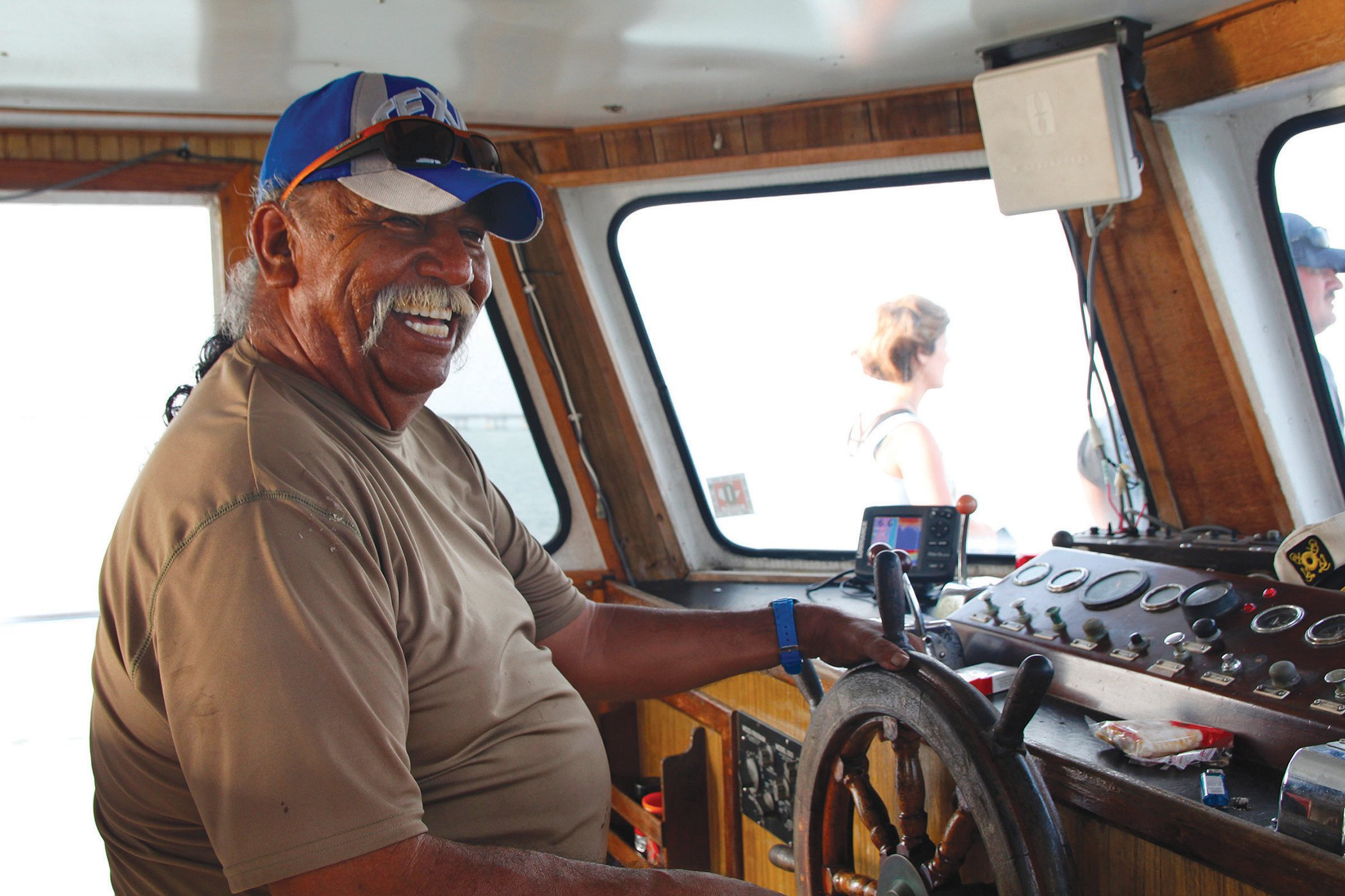 Noe Lopez takes customers out onto the Laguna Madre to search for dolphins.
