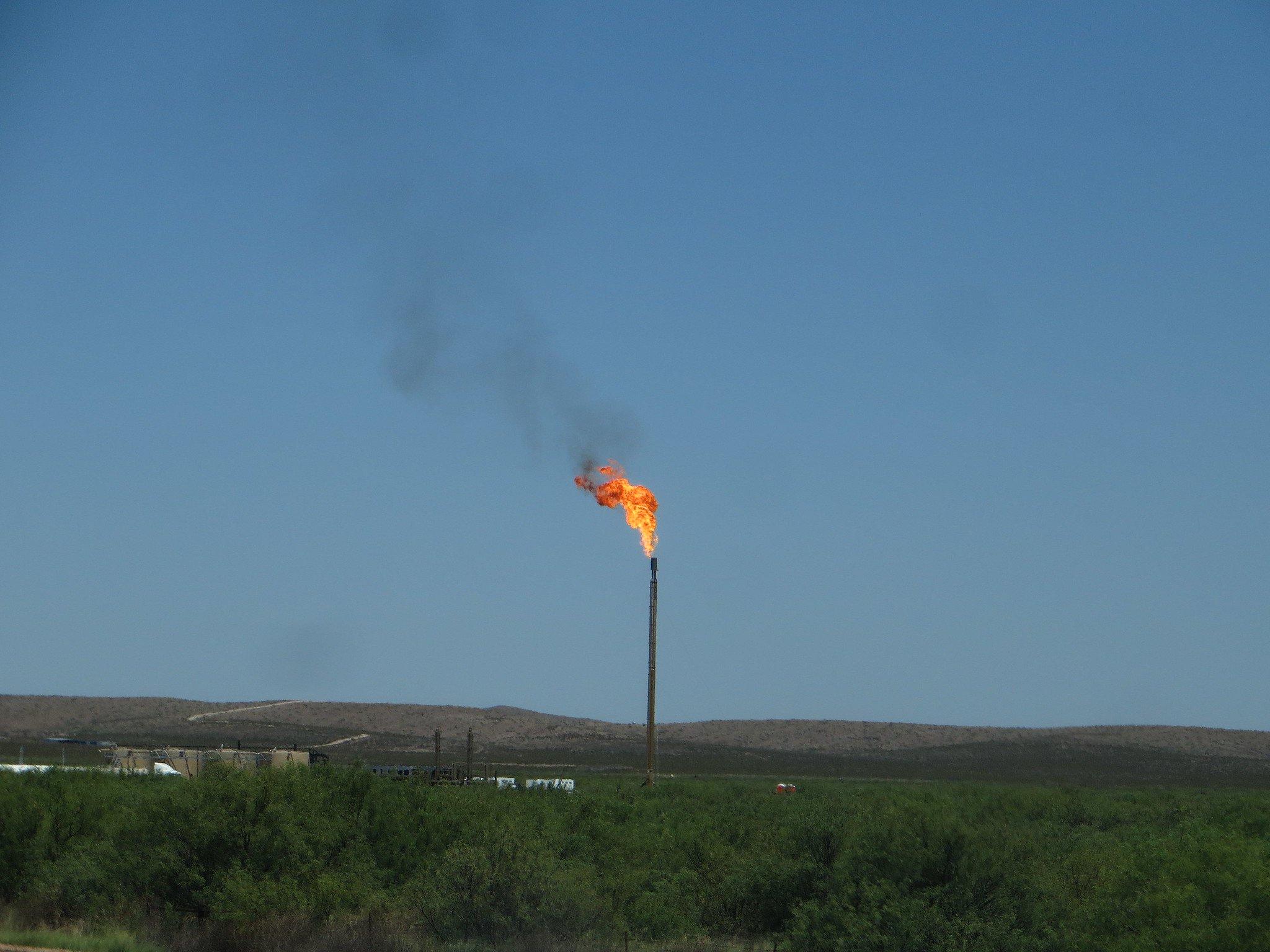 A natural gas flare in Balmorhea.