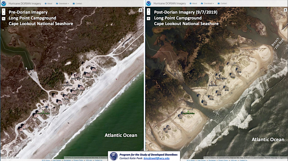 Hurricane Dorian damage at Cape Lookout National Seashore/Western Carolina University