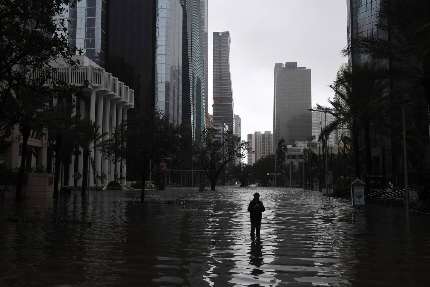 A man stands in a flooded street as Hurricane Irma hits Miami on Sept. 10, 2017.  (Matt McClain)
