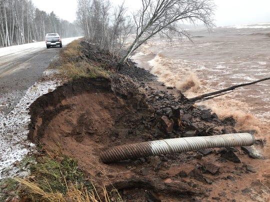 County Road 107 in Porcupine Mountains Wilderness State Park is eroding as Lake Superior's water levels rise. Pictured here in late November, 2019.
