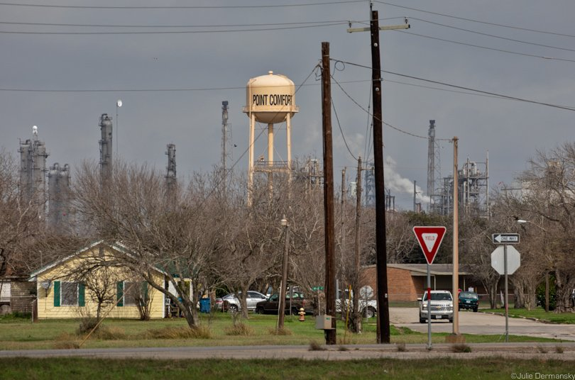 Formosa's Point Comfort plant looms over the town and its water tower