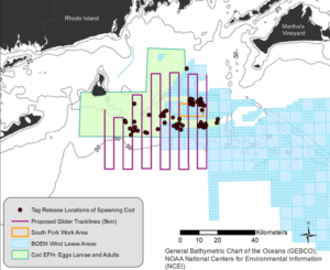 The survey is covering an area that includes the proposed South Fork Wind Farm south of Rhode Island. BOEM image.