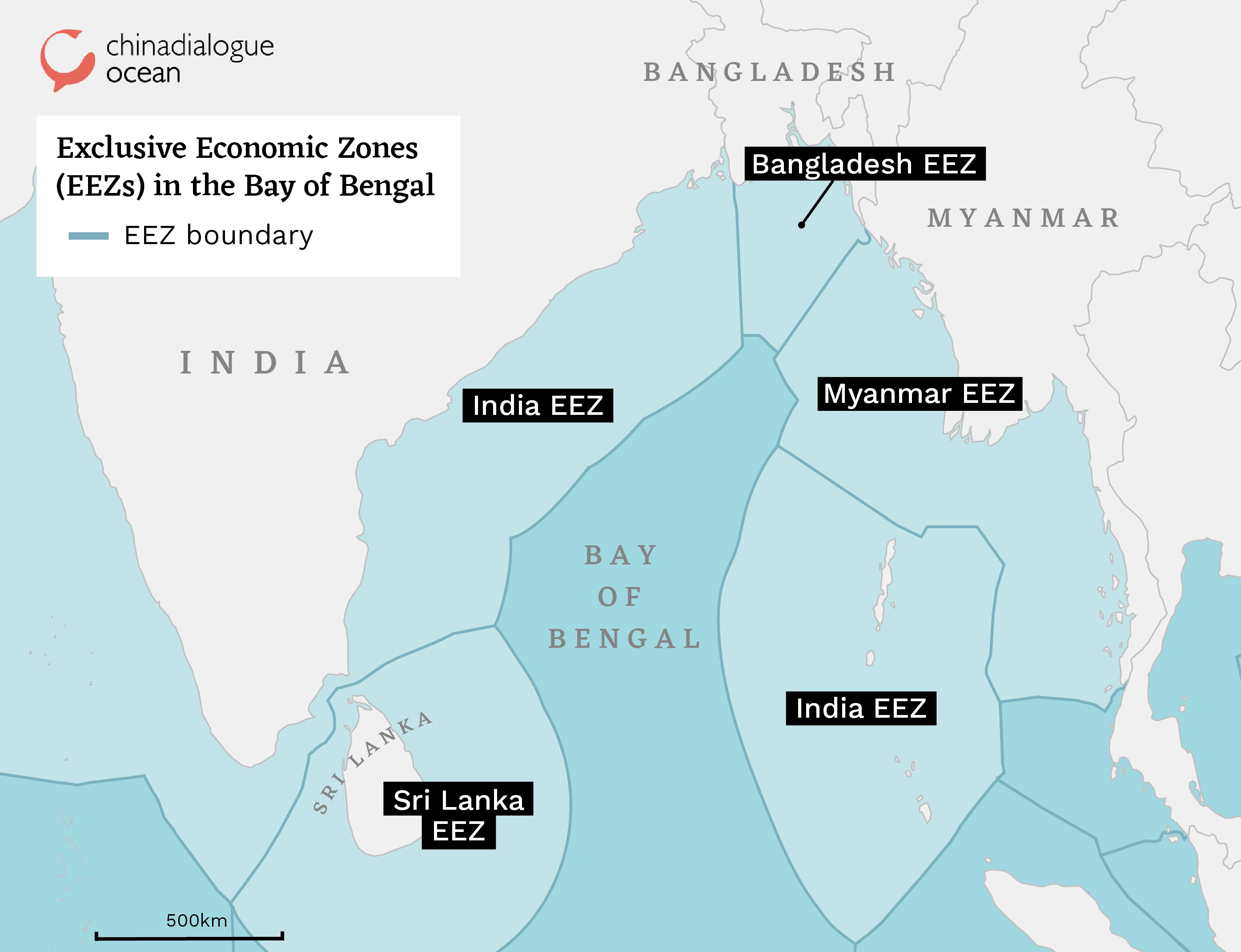 Map of the exclusive economic zones in the Bay of the Bengal