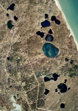 Satellite image of kettle ponds on Cape Cod