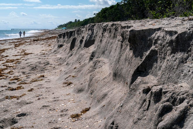 Beach erosion just south of beach access number 47 where the crossover is closed in Jupiter, Florida on Oct. 4, 2021.