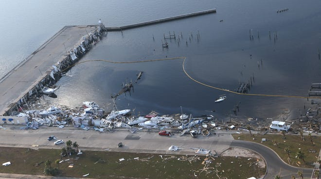 Hurricane Michael's destruction of the Panama City Marina is shown from the air on Oct. 18, 2018.