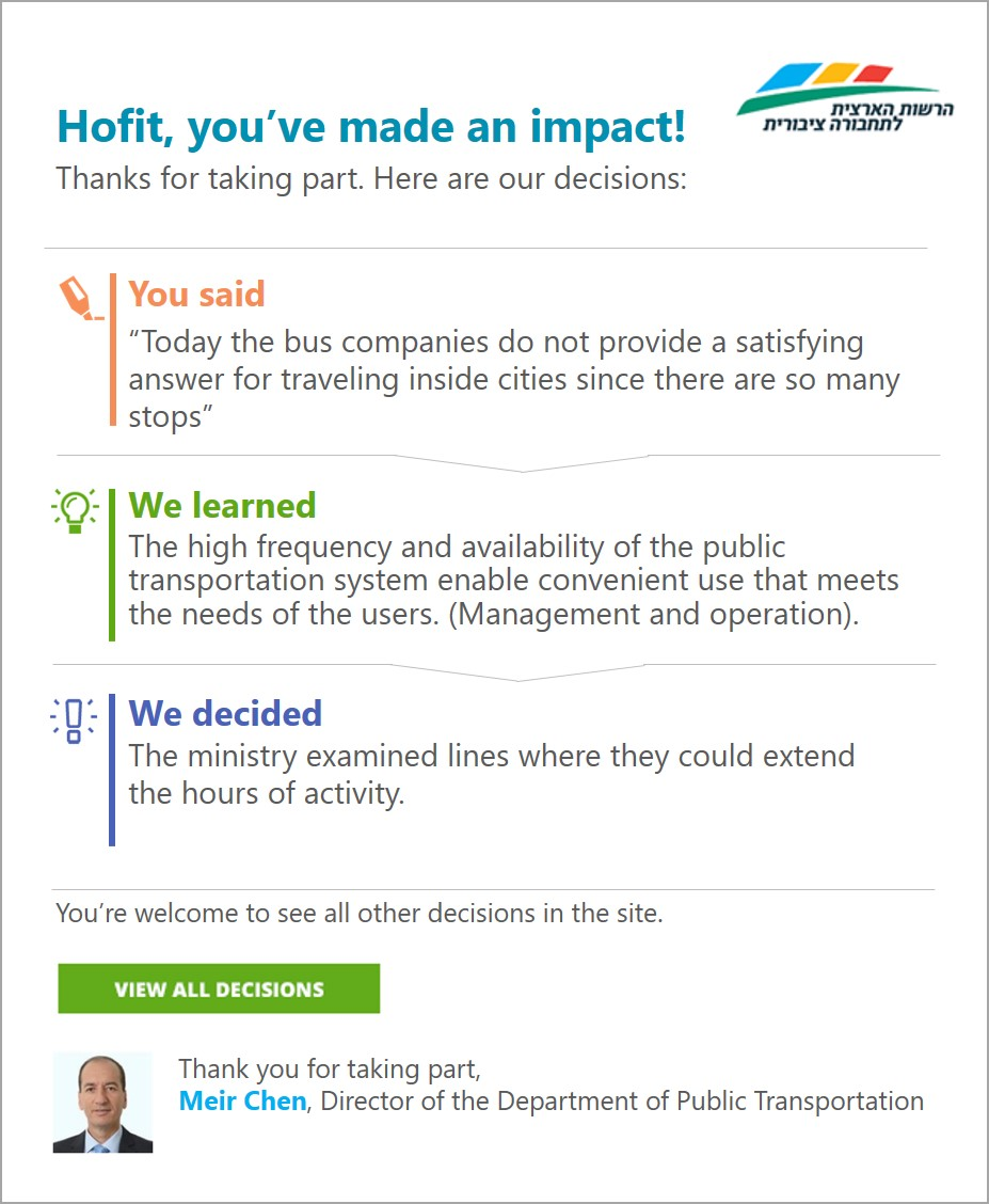 Insights personal impact updates to users