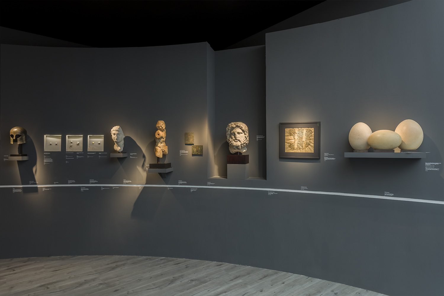 Wide angle photograph of White Crow Project's design for ArtAncient's exhibition, Timeline, at Frieze Masters 2019