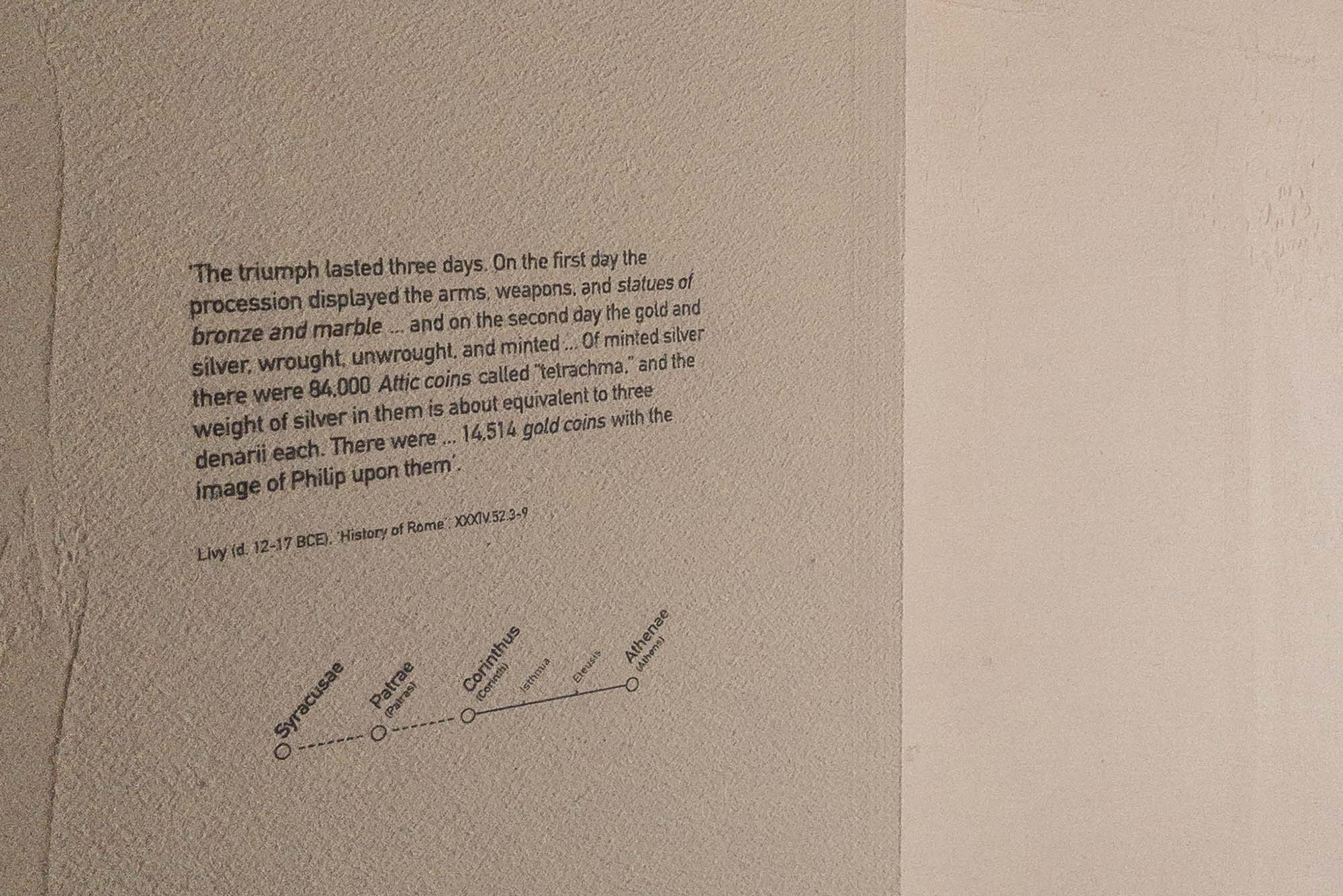 Close up photograph of a label at White Crow Project's and ArtAncient's exhibition, Wanderlust, at TEFAF Maastricht 2020