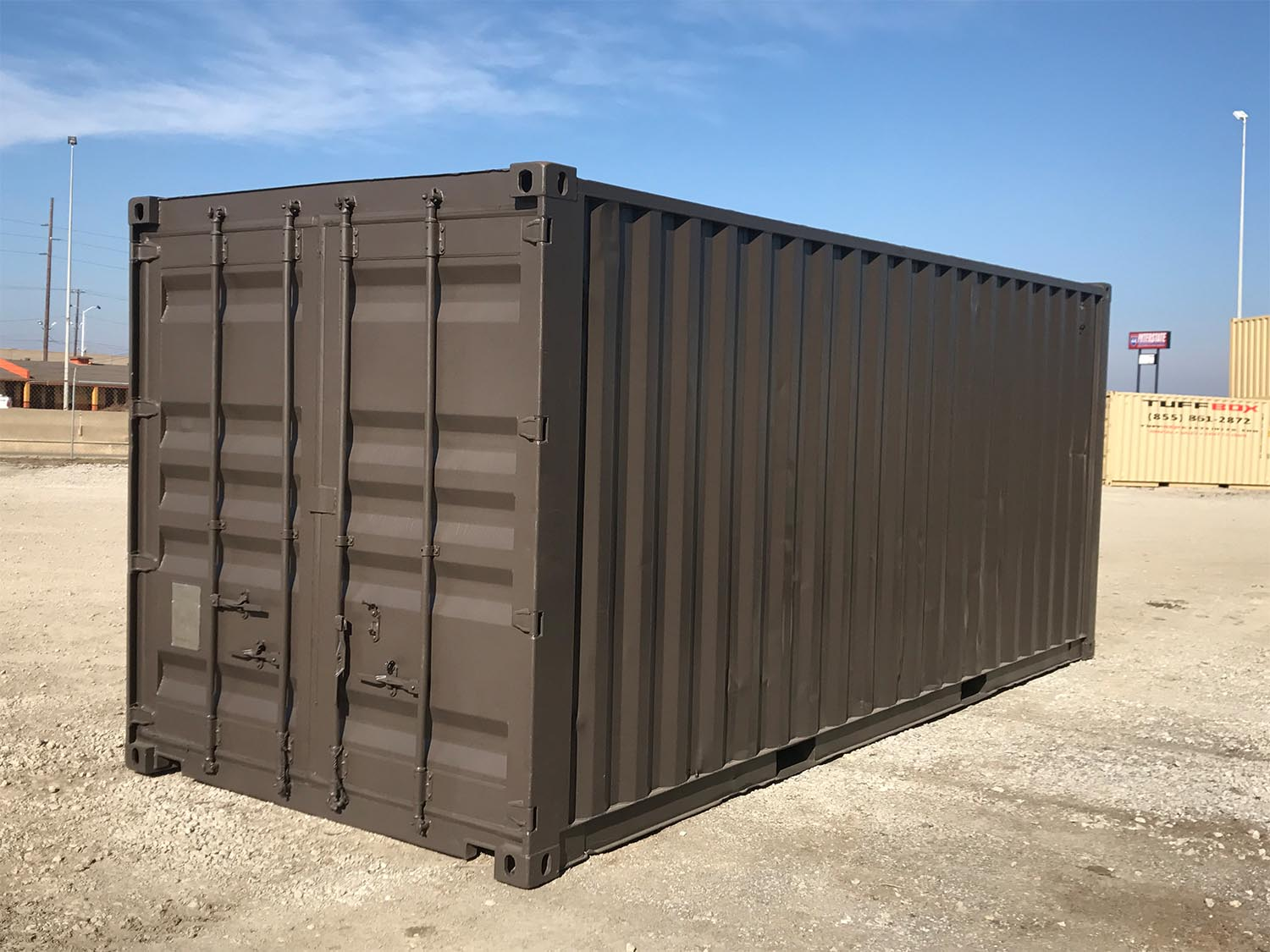shipping container painted brown