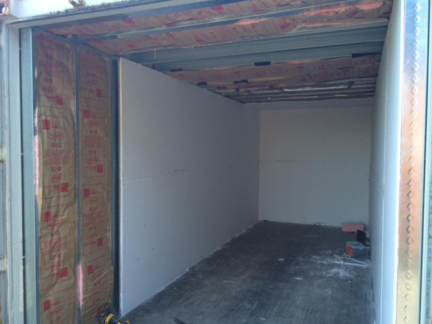 drywall in a shipping container