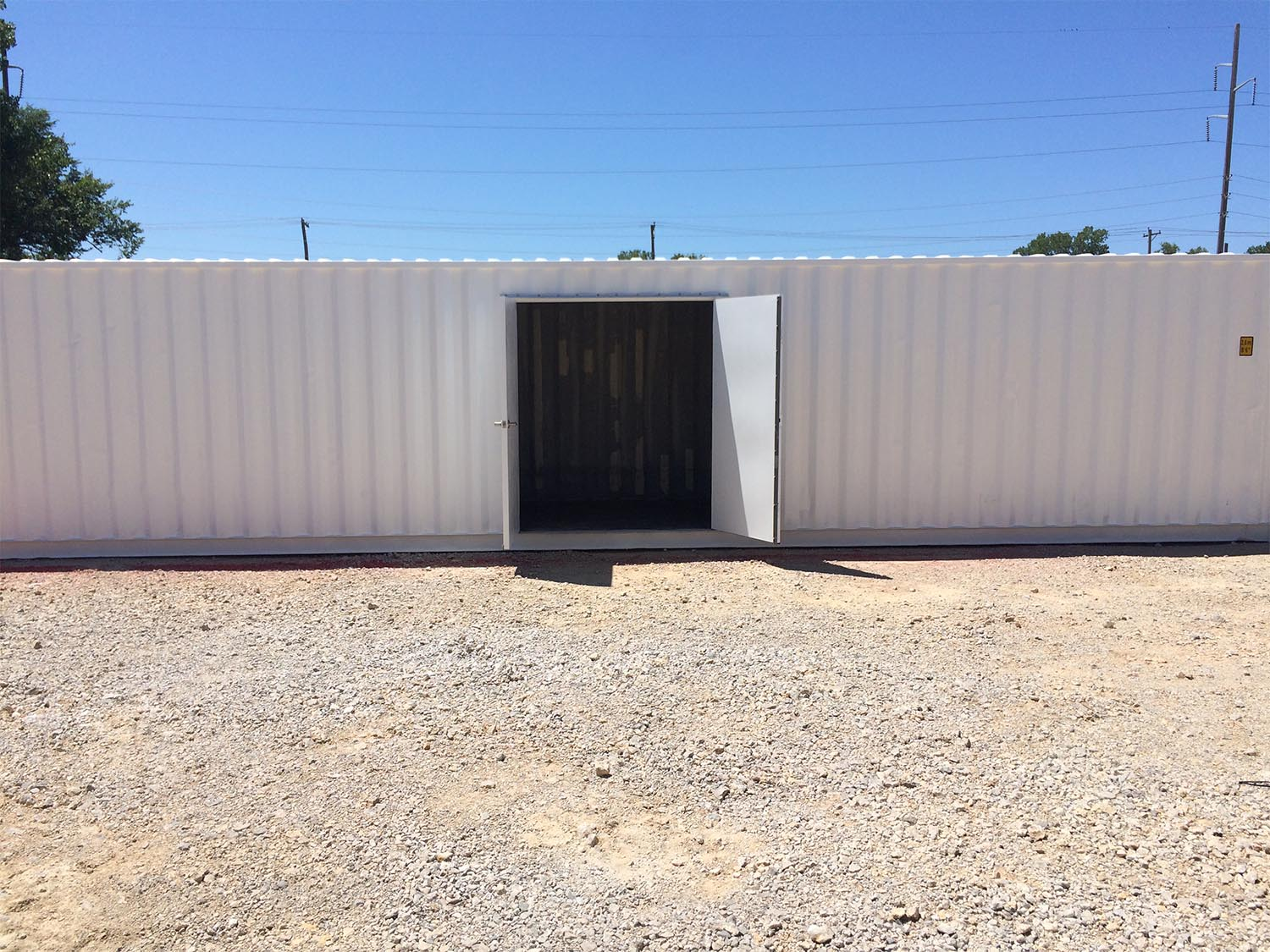 Double swing doors in the middle of a shipping container